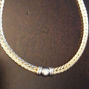 14k YG Diamond Necklace w White Gold Accent